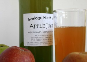 Bottle of home-made apple juice